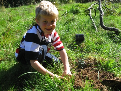 Child planting a tree at a family fun day event during Conservation Week 2013