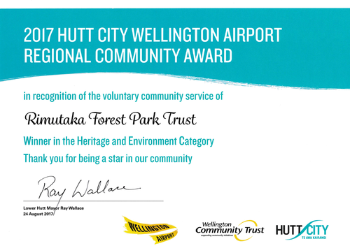 Certificate for Heritage & Environment Award won by the Rimutaka Forest Park Trust in August 2017