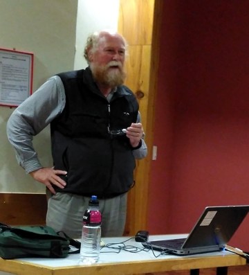 Dr Hugh Robertson speaking to members and guests of the Rimutaka Forest Park Trust at their AGM last night.