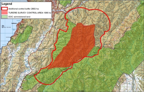 Map of suggested buffer zones and recommended extended ungulate control - Remutaka Forest Park